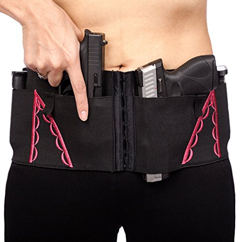 Hip Hugger 7-Pocket IWB Holster Belt for Women by CCW Tactical - Adjustable Fit, Tuckable, Fits Most Concealed Carry Handguns and Accessories, Black & Pink, XL (Taurus Gun Holsters Pink 38 For)