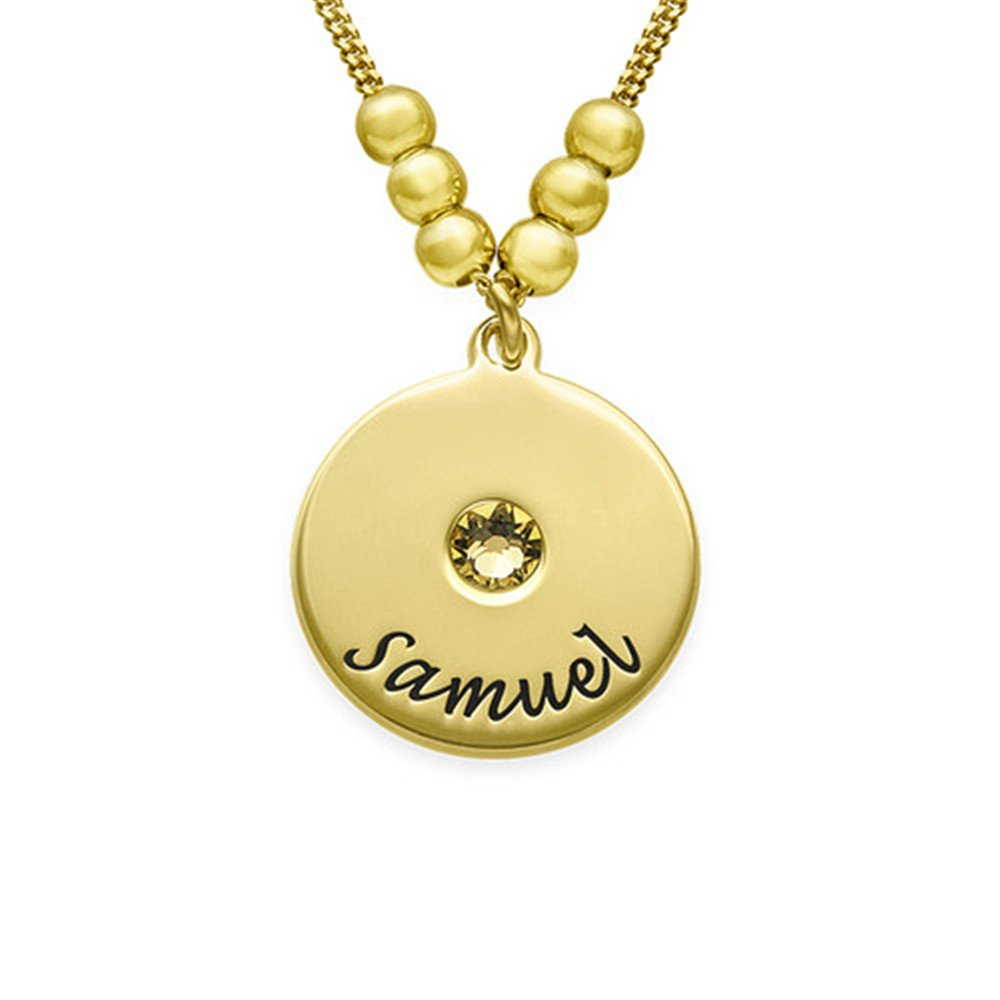 FACOCO Inlaid Birthstone Custom Name Mothers CD and Birthstone Necklace Personalized Birthday Gift