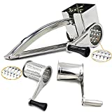 Rotary Cheese Grater, Peyou Stainless Steel Hand-Crank Rotary Razor Sharp Blades Shredder Slicer Machine with 3 Drums - Easy Kitchen Aid