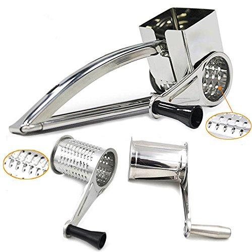 Rotary Cheese Grater, Peyou Stainless Steel Hand-Crank Rotary Razor Sharp Blades Shredder Slicer Machine with 3 Drums - Easy Kitchen - Cheese Handheld