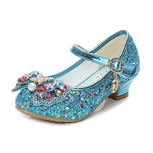 YING LAN Girls Cosplay Dress Wedding Party Shoes Glitter Sequins Low Heel Mary Jane Princess Shoes Blue]()