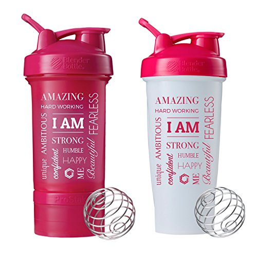 I AM Word Mesh Blender Bottle ProStak,22oz Protein Shaker cup with Twist N' Lock Storage Containers (Pink PS/BB Combo)