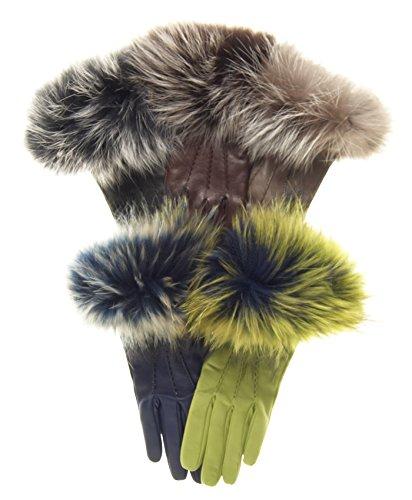 Fratelli Orsini Women's Italian Fox Fur Cuff Cashmere LIned Leather Gloves Size 7 1/2 Color Black