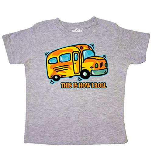 inktastic Roll School Bus Toddler T-Shirt 2T Heather (School Toddler Tee)