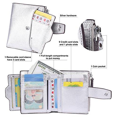 RFID AINIMOER Orange Women's Compact Lichee Zipper with Window Blocking Purse Case Id Small fold Lichee Sale Card Wallet Bi Silver Big Leather Pocket wgAqtn5