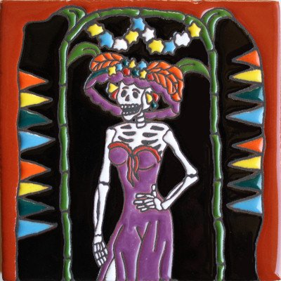 Fine Crafts Imports 6x6 La Catrina. Day-of-The-Dead Clay Tile