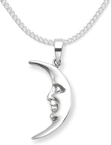 moon pendant solid sterling silver gift boxed moon and cat necklace. uk made
