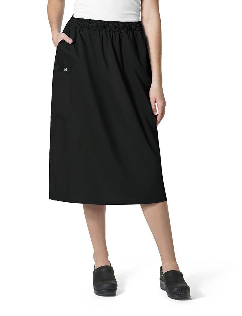WonderWink Women's Plus Size Wonderwork Pull-on Cargo Scrub Skirt, Black, 2X-Large