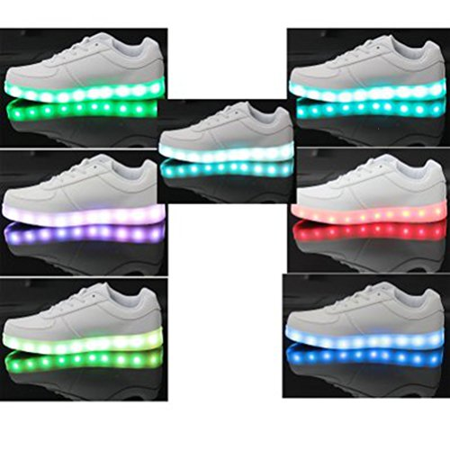 [Presente:pequeña toalla]JUNGLEST® 7 Colores USB Carga LED Luz Glow Luminosos Light Up Flashing Sneakers Zapatos Deportivos de Low Blanco