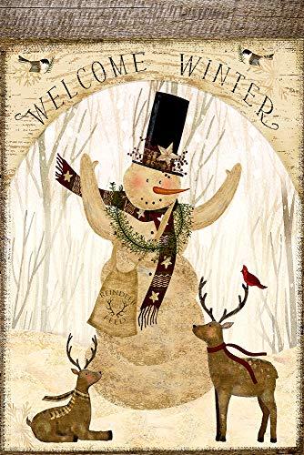 (Welcome Winter Snowman Cardinal Deer Decorative Garden Flag, Double Sided, 12