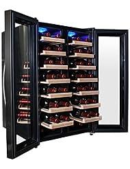 AKDY® 32 Bottle Dual Zone Thermoelectric Freestanding Wine Cooler Cellar Chiller Double Door Refrigerator Fridge...