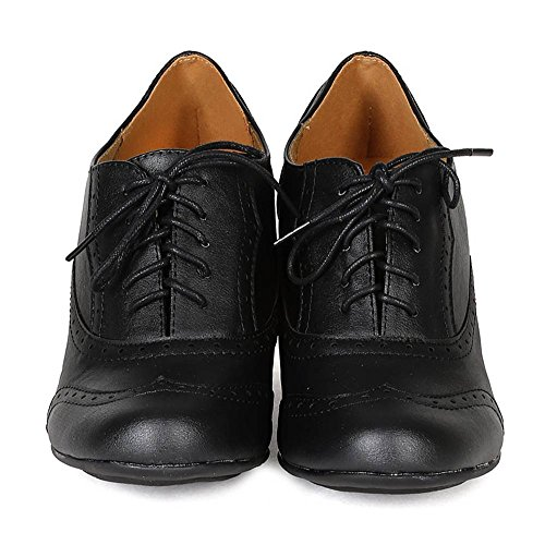 49f05b53ff Women's Cuban Chunky Heel Lace-up Ankle Booties Oxford Shoes Black 5.5