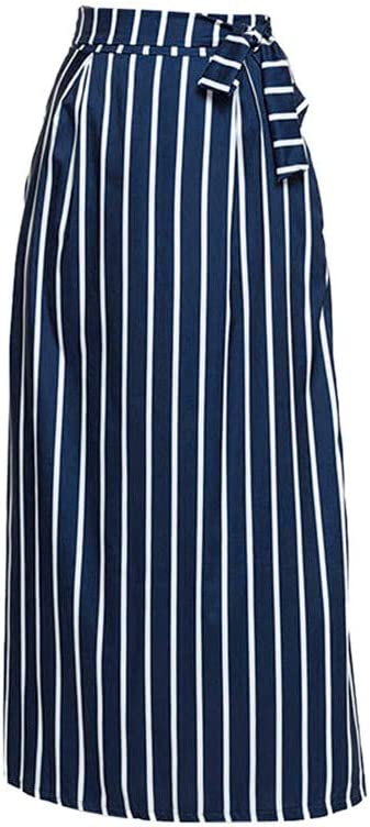 Women Long Skirt Ankola Women Casual Striped Ankle-Length Chiffon Lace-Up Vintage Long Skirt S, Black