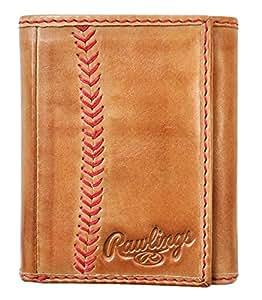 Rawlings Baseball Stitch Trifold Wallet Brown