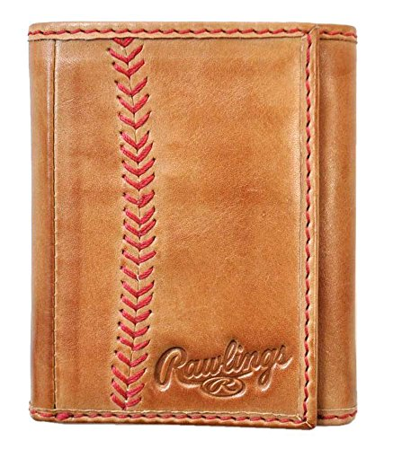 Rawlings Baseball Stitch Trifold Wallet Brown