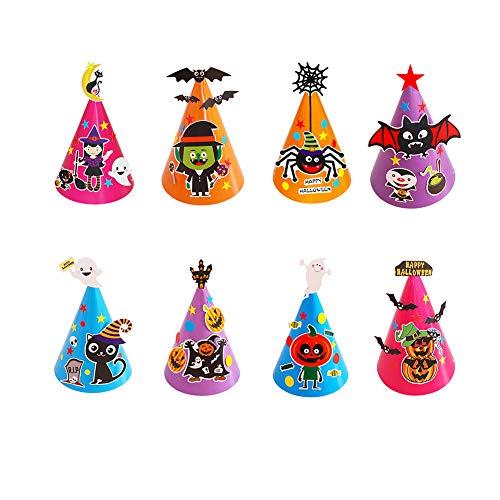 Umimons 8Pcs Kids Halloween DIY Paper Cartoon Hat Halloween Party Props Decorations -