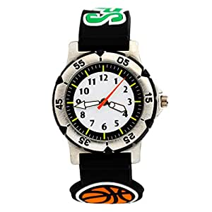 ELEOPTION Waterproof Digital Analog Quartz Watch With 3D Cute Cartoon Design Silicone Band Outdoor Sports Watches Wristwatch Free Watch Gift Box for Students Teenagers (Basketball- Black)