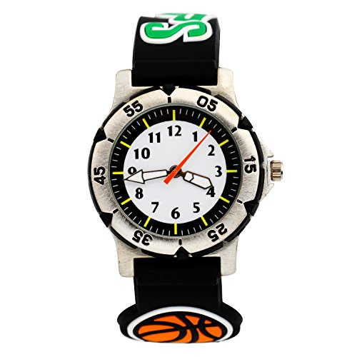 ELEOPTION Kids Watches for Boys, Waterproof Children Sport Watches Kids Digital Wrist Watches Outdoor Analog Quartz Watch With Soft Silicone Band For Boys Girls Students (Basketball- Black)