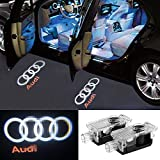 2 Pcs Audi Car Door LED Logo Light Laser Projector Lights Ghost Shadow Welcome Lamp Easy Installation for Audi A1 A3 A4 A5 A6 A7 A8 Q3 Q7 R8 TT