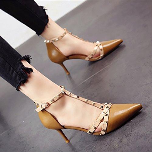 Delgada Verano de tacón Ahuecado b YMFIE de Zapatos Puntiagudas Remache Europeo Estilo Moda Temperamento Sandalias Dama y Sexy Hz7Pq
