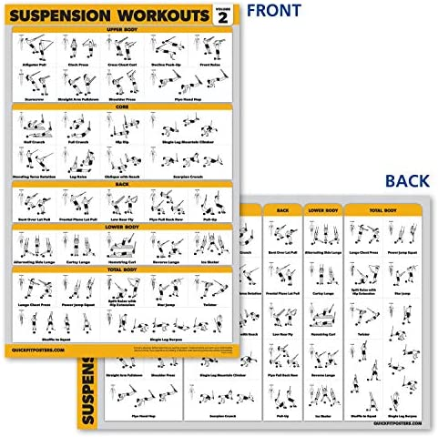 QuickFit póster de Entrenamiento de suspensión – Volumen 2 – Tabla de Ejercicios laminada – 18 x 27 Pulgadas – Vol. 2
