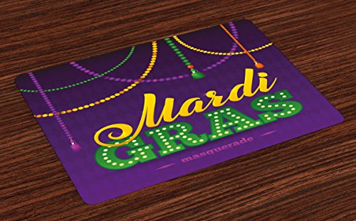 (Ambesonne Mardi Gras Place Mats Set of 4, Beads and Tassels Masquerade Theme Calligraphy Design Fun Print, Washable Fabric Placemats for Dining Room Kitchen Table Decor, Purple Marigold Fern Green )