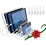 Hercules Tuff Charging Station for Apple Products - 6 Cables Included - Works with iPhone 5/6/7/8/X, Ipad 3/4/air (Charging Station + 6 Cable for Apple (powercord Included))
