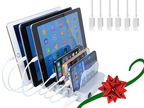 Hercules Tuff Multiple USB Charger - Organizer for Electronic Products Such as Phones and Tablets - 6 Short Cables Included