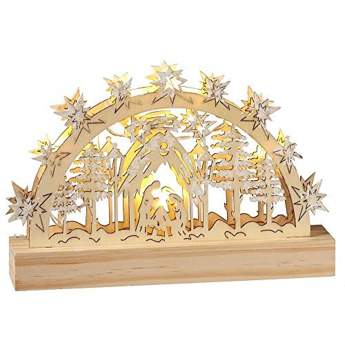 Panorama Holy Family LED Light-up 9 x 6 Wood Christmas Nativity Table Top Decoration -