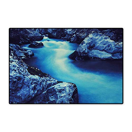 Decorative Rock Speaker - Waterfall,Door Mats,Frozen Dangerous Lake with Atmosphere of a Cave and Snow on The Rocks Nature,Bath Mat Bathroom Mat with Non Slip,Blue and Black 32