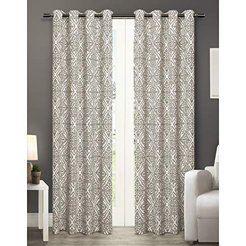 Exclusive Home Curtains Sira Cotton Grommet Top Window Curtain Panel Pair, Natural, 54x96 ()