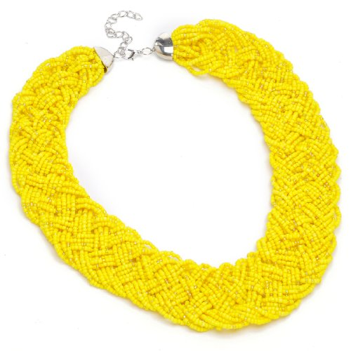 Jerollin Fashion Gold Tone Chain Water Drop Olivary Yellow Resin Beads Pendant Bib Necklace (Jewelry Fashion Yellow)