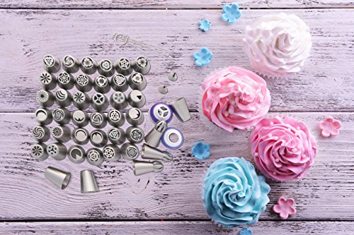 116 Russian Piping Tips Set Cake Decorations Kit Include 56 Icing Nozzles Piping,4 Sphere Ball Tips,2 leaf tips,50 Disposable Pastry Bags & Silicon Pastry Bag,Single & Tri Color Coupler,Cleaning Brush 8  THE MOST COMPLETE RUSSIAN TIP SET -The perfect cake decoration kit with everything you need 56 extra large icing nozzles, 4 russian ball piping tips , 2 leaf tip, 1 single silicon pastry bag,50 disposable pastry bags, one single color coupler and one tri-color coupler and 5 sizes cleaning brush in a hard container to keep your kit clean & organized. HIGH QUALITY RUSSIAN NOZZLE SET - Our cake icing nozzles made of top grade FDA approved 304 Stainless Steel, it is eco-friendly & rust proof with a beautiful polished chrome finish. very durable and dishwasher safe. ESAY TO USE - All our russian piping tips are numbered, no more looking for the tip you need simply use the number guide and easily find your favorite tip for your icing decoration. We added a complete guide on how to use our piping tips, the best butter cream for your cake & cupcake and much more.