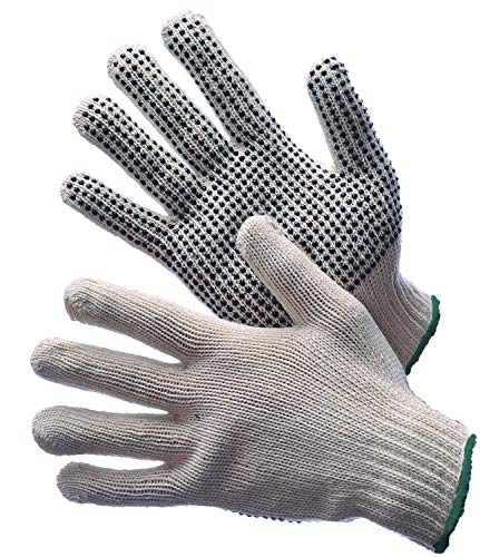 Safety Grip Protection Dotted String Knit Cotton Gloves - Durable Light Weight For Work Safety (6)