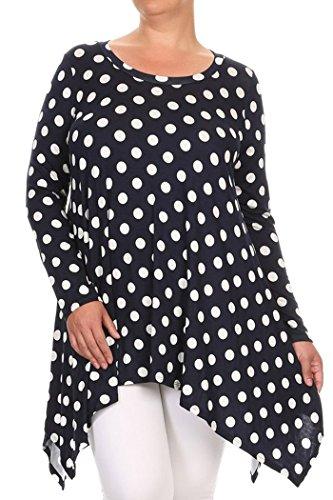 Women's Plus Size Plaid,Print Midi Dresses MADE IN USA (3X, Navy/Polka Dot)