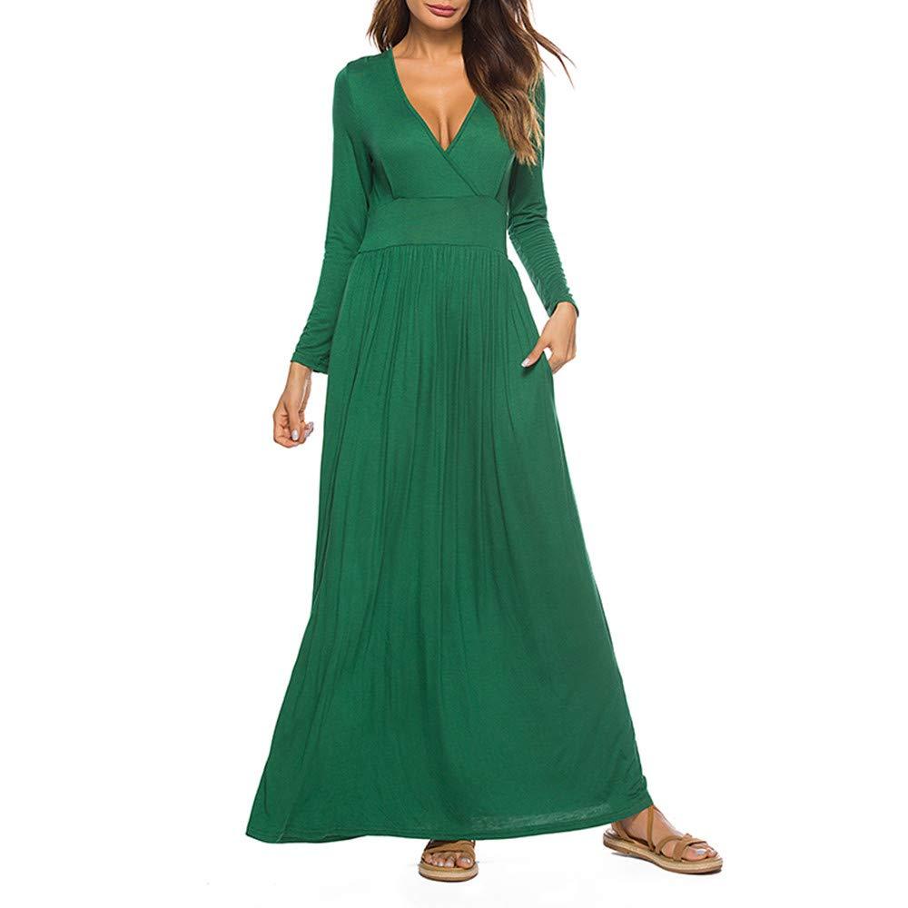 Damen Freizeit Kleider,Pottoa Pocket Langarmkleid mit V-Ausschnitt - Elegante Einfarbig Ballkleid - Faltenrock Basic Abendkleider