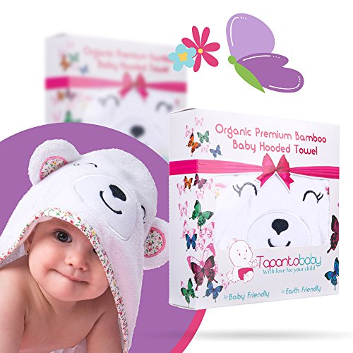Organic Bamboo Hooded Baby Towel and Washcloth Set - Hooded Towel for Baby Girls with Pink Teddy Bear Design - Soft Bath Towel for Infants, Newborns, and Babies - Baby Bath Accessories for Girls