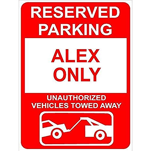 TGDB Aluminum Alex Reserved Parking Only Family Name Novelty Sign