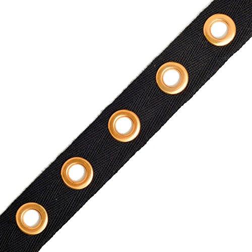 Eyelet Twill Tape Trim by 1-yard, Gold/Black, TR-11344