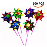 Bombom Tree 100 Pcs Plastic Windmill Pinwheel Wind Spinner Lawn Garden Party Decor Kids Toy, Assorted Color