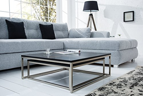 Invicta Interior Design Couchtisch 2er Set Big Fusion Matt Schwarz