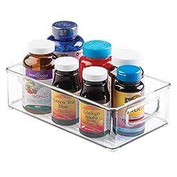 InterDesign Home Kitchen Organizer Bin for Pantry, Refrigerator, Freezer & Storage Cabinet, Set of 4, 10-Inch by 6-Inch by 3-Inch, Clear