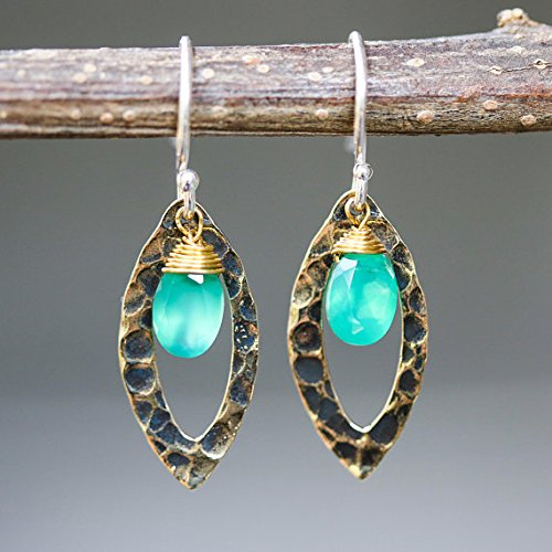 - Green onyx earrings and oxidized brass marquis shape in hammer textured on sterling silver hook style