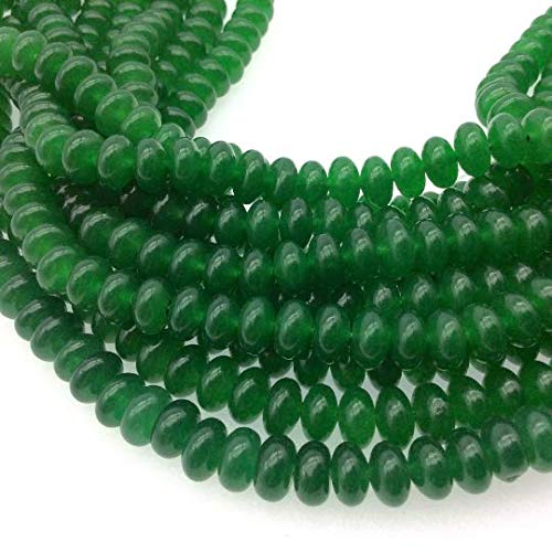 5mm x 8mm Smooth Dyed Bottle Green Natural Jade Rondelle Shaped Beads with 1mm Holes - Sold by 16