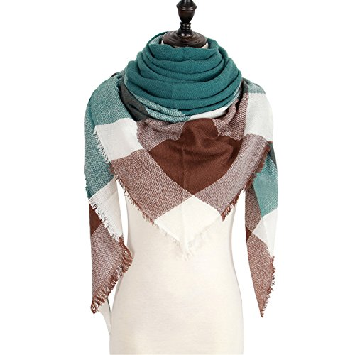 Renee Ander Soft Winter Scarf Scarf Luxury Plaid Cashmere Scarves Women Triangle Bandage Bufanda 140140210 number (J Renee Wrap)