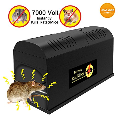 P PURNEAT Electronic Rat Trap,Rodent Mouse Traps Electronic,High Voltage Emitting, Effective and Powerful killer for rat,squirrels Mice and other similar rodents【2018 upgraded】Electronic Mouse - Set High Voltage