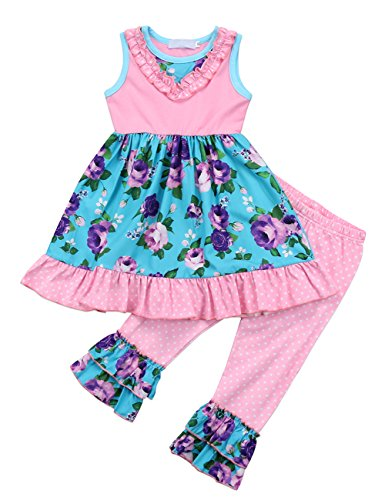 - Baby Little Girls Sleeveless Floral Polka Dot Dress Top and Ruffle Flare Capri Pants Outfit Set (120(5-6T))