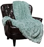 Chanasya Super Soft Shaggy Longfur Throw Blanket | Snuggly Fuzzy Faux Fur Lightweight Warm Elegant Cozy Plush Sherpa Microfiber Blanket | for Couch Bed Chair Photo Props - 60''x 70'' - Aqua Turquoise