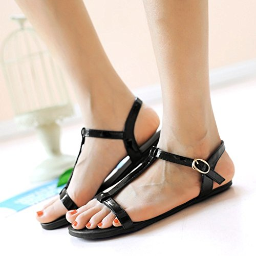 Black Women T 9 Flat RAZAMAZA Strap Sandals aXRxwfRqd