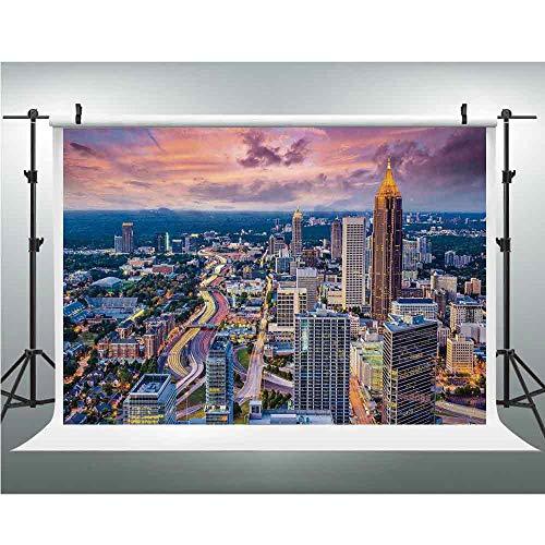 Modern,Background Vinyl Photo Backdrops Studio Props,5x7ft,Atlanta City Skyline at Sunset with Hazy Light Georgia Town American View ()